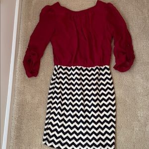 Ruby Rox red and black and white chevron dress S